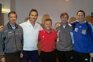 f.l. Roger Wilkinson, Peter Schreiner, Wayne Harrison, Frans Hoek, Matt Driver (Speakers)